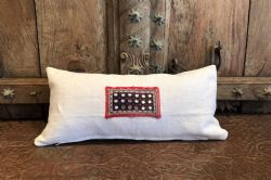 Cushion made from vintage french linen and antique embroidery